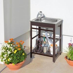 ガーデンシンク 流し台 屋外 水切り 簡単設置 庭 ガーデニング アルミ流し台50 AND-50|1128