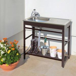 ガーデンシンク 流し台 屋外 水切り 簡単設置 庭 ガーデニング アルミ流し台75 AND-75|1128