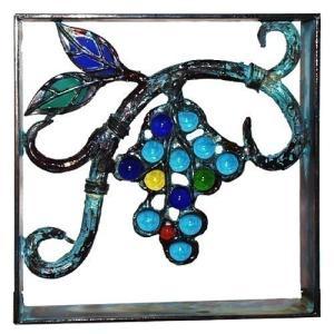 ブロック 壁飾り シャインガラス ブロック200 『ブドウ (青銅仕上げ)』|1128