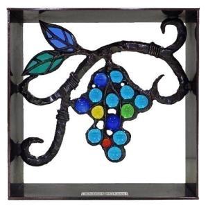 ブロック 壁飾り シャインガラス ブロック200 『ブドウ (いぶし銅仕上げ)』|1128