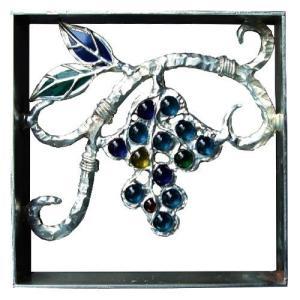 ブロック 壁飾り シャインガラス ブロック200 『ブドウ (錫仕上げ)』|1128
