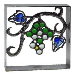 ブロック 壁飾り シャインガラス ブロック200 『ブドウスカシ』|1128