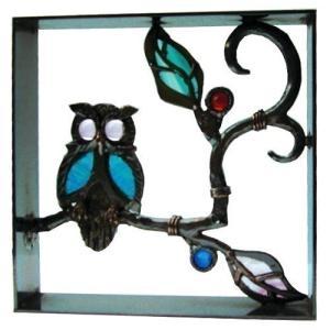 ブロック 壁飾り シャインガラス ブロック200 『フクロウII』|1128