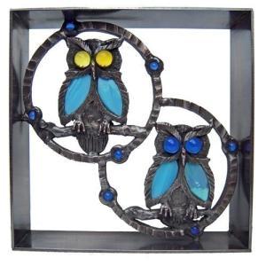ブロック 壁飾り シャインガラス ブロック200 『Wフクロウ』|1128