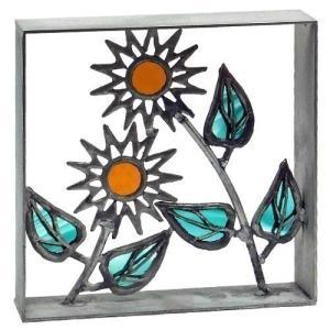 ブロック 壁飾り シャインガラス ブロック200 『ひまわりII』|1128