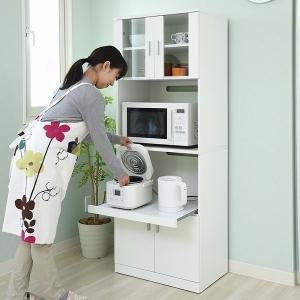 レンジ台 レンジボード 幅59.5 高さ160 『SIM』シリーズ (FAP-0016-WH) キッチン収納 食器棚|1128