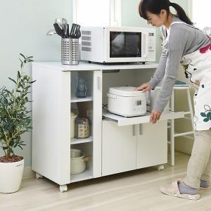 キッチンカウンター 幅90 高さ80 『SIMシリーズ』 (FAP-0017-WH) レンジ台 食器棚 キッチン収納|1128