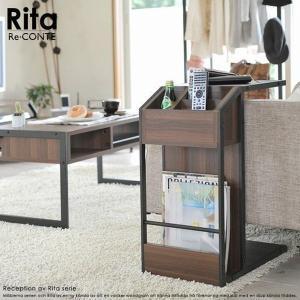 サイドテーブル 木目調 『Re・conte Rita series Sofa Side Table』 ブラック (DRT-0008-BK)|1128
