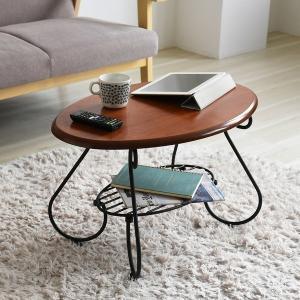ローテーブル 幅65cm 楕円 ブラック/ブラウン (IRI-0052-BK) 木目 リビングテーブル オーバル おしゃれ ロートアイアンシリーズ|1128
