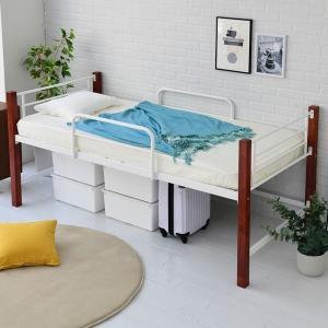 ベッド シングル ミドルベッド 高さ60 ホワイト/ブラウン (IRI-1041-WHBR) ベッドフレーム ハイタイプ|1128