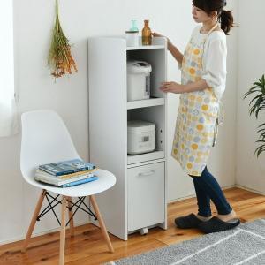 食器棚 隙間収納 隙間ミニキッチン H120 ホワイト (FKC-0531-WH) スリム|1128