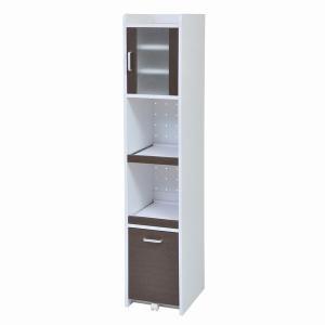 食器棚 隙間収納 隙間ミニキッチン H160 ホワイト/ダークブラウン (FKC-0532-WHDB) スリム|1128