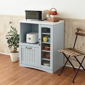 キッチンカウンター キッチン 収納 幅75 ブルー フレンチカントリー家具 (FFC-0005-BL) Azur|1128