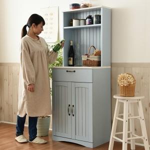 食器棚 カップボード キッチン 収納 フレンチカントリー家具 幅60 ブルー (FFC-0006-BL) Azur|1128