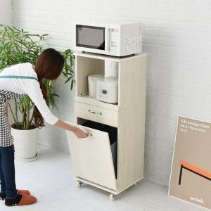 レンジ台 幅45 ダストボックス付き H120 ホワイト (FLL-0069-WH) ゴミ箱 分別 キッチン 収納 Lycka Land|1128