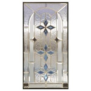 ステンドグラス 【メーカー在庫限り】 (SH-A09) 一部鏡面ガラス 913×480×18mm 窓 アーチ Aサイズ (約13kg) ※代引不可|1128