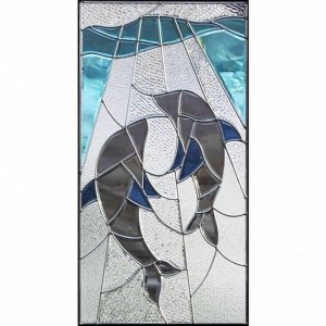 ステンドグラス (SH-A22) 一部鏡面ガラス 913×480×18mm イルカ Aサイズ (約13kg) メーカー在庫限り ※代引不可|1128