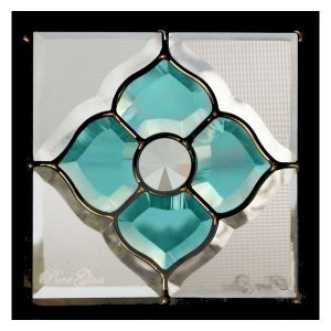 ステンドグラス (SH-D03) 200×200×18mm デザイン ピュアグラス Dサイズ (約1kg) ※代引不可|1128