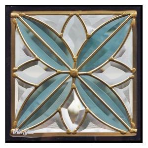 ステンドグラス (SH-D05) 一部鏡面ガラス 200×200×18mm デザイン ピュアグラス Dサイズ (約1kg) ※代引不可|1128