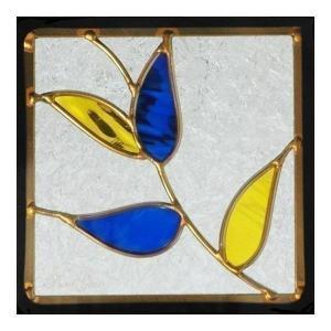 ステンドグラス (SH-D15) 200×200×18mm デザイン ピュアグラス Dサイズ (約1kg) ※代引不可 【メーカー在庫限り】|1128