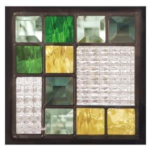 ステンドグラス (SH-D08) 一部鏡面ガラス 200×200×18mm デザイン ピュアグラス Dサイズ (約1kg)  代引不可|1128