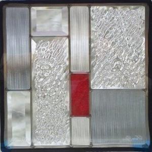 ステンドグラス 【メーカー在庫限り】 (SH-E05) 300×300×18mm デザイン ピュアグラス Eサイズ 幾何学 (約3kg) ※代引不可|1128