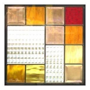 ステンドグラス (SH-E03) 300×300×18mm デザイン ピュアグラス Eサイズ (約3kg) ※代引不可|1128