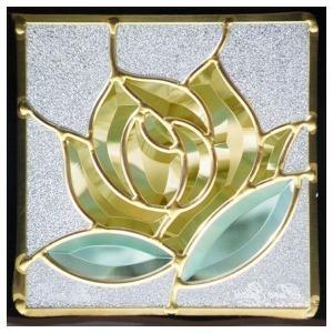 ステンドグラス (SH-D09) 一部鏡面ガラス 200×200×18mm ローズ 薔薇 Dサイズ (約1kg)  代引不可  メーカー在庫限り|1128