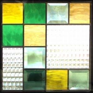 ステンドグラス (SH-E04) 一部鏡面ガラス 300×300×18mm デザイン ピュアグラス Eサイズ (約3kg) ※代引不可|1128