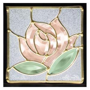 ステンドグラス (SH-D10) 200×200×18mm デザイン ローズ 薔薇 ピュアグラス Dサイズ (約1kg) ※代引不可|1128
