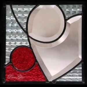 ステンドグラス (SH-D11) 200×200×18mm ハート モダン ピュアグラス Dサイズ (約1kg) 【メーカー在庫限り】 ※代引不可|1128