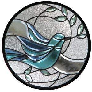 ステンドグラス (SH-K10) 一部鏡面ガラス 400×400×18mm 円形 鳩 ピュアグラス Kサイズ (約4kg) 【メーカー在庫限り】 ※代引不可|1128