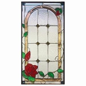 ステンドグラス (SH-A16) 一部鏡面ガラス 913×480×18mm デザイン 薔薇 ローズ ピュアグラス Aサイズ (約13kg) ※代引不可|1128