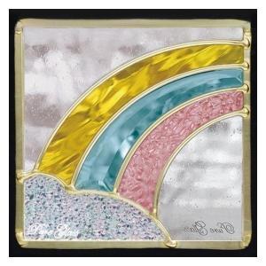 ステンドグラス (SH-D16) 200×200×18mm レインボー 虹 ピュアグラス Dサイズ (約1kg) ※代引不可|1128