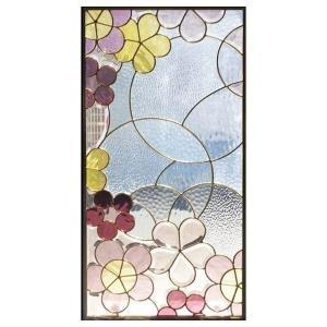 ステンドグラス (SH-A29) 913×480×18mm デザイン 花 ピュアグラス 花 Aサイズ (約13kg) ※代引不可|1128