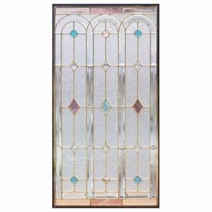 ステンドグラス (SH-A06N) 913×480×18mm デザイン 窓 アーチ ピュアグラス Aサイズ (約13kg) ※代引不可|1128