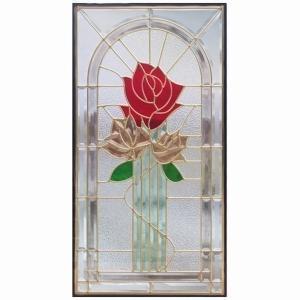 ステンドグラス (SH-A21N) 一部鏡面ガラス 913×480×18mm デザイン 薔薇 ローズ ピュアグラス Aサイズ (約13kg) ※代引不可|1128