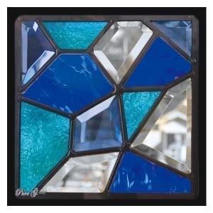 ステンドグラス (SH-D24) 一部鏡面ガラス 200×200×18mm デザイン モザイク ピュアグラス (約1kg)  代引不可|1128