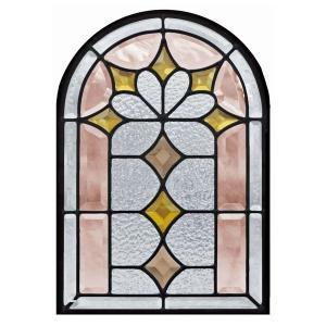 ステンドグラス 【メーカー在庫限り】 (SH-K06) 一部鏡面ガラス 495×330×18mm アーチ ピュアグラス Kサイズ (約5kg) ※代引不可|1128