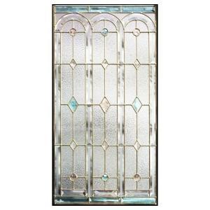 ステンドグラス  メーカー在庫限り  (SH-A06) 913×480×18mm デザイン 窓 アーチ ピュアグラス Aサイズ (約13kg)  代引不可|1128