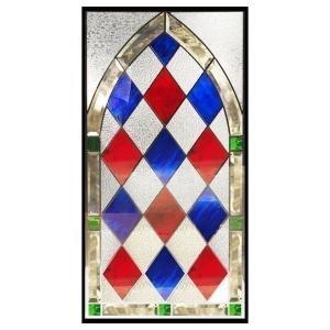 ステンドグラス (SH-A40) 913×480×18mm デザイン アンティーク 紋章風 ピュアグラス Aサイズ (約13kg) ※代引不可|1128
