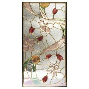 ステンドグラス (SH-A41) 一部鏡面ガラス 913×480×18mm デザイン 桜 ピュアグラス Aサイズ (約13kg)  代引不可|1128