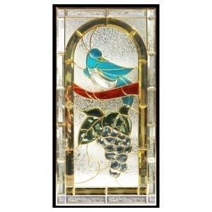 ステンドグラス (SH-A42) 一部鏡面ガラス 913×480×18mm 鳥 葡萄 ブドウ ピュアグラス Aサイズ (約13kg) ※代引不可|1128