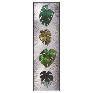 ステンドグラス (SH-B21) 一部鏡面ガラス 1625×480×20mm 植物 モンステラ ピュアグラス Bサイズ (約24kg) ※代引不可|1128