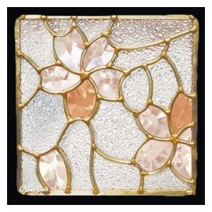 ステンドグラス (SH-D26) 一部鏡面ガラス 200×200×18mm デザイン 桜 ピュアグラス Dサイズ (約1kg) ※代引不可|1128