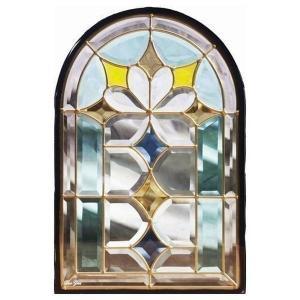 ステンドグラス (SH-K06N) 一部鏡面ガラス 495×330×18mm デザイン 窓型 アーチ ピュアグラス Kサイズ (約5kg) ※代引不可|1128