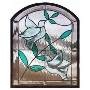 ステンドグラス (SH-K07N) 500×400×18mm デザイン 鳩 オリーブ 窓型 ピュアグラス Kサイズ (約6kg) ※代引不可|1128