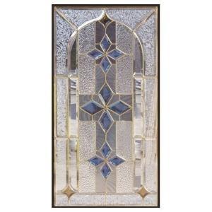 ステンドグラス (SH-A09N) 一部鏡面ガラス 913×480×18mm デザイン 窓 アーチ ピュアグラス Aサイズ (約13kg) ※代引不可|1128