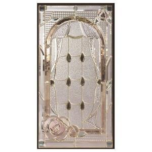 ステンドグラス (SH-A44) 一部鏡面ガラス 913×480×18mm デザイン 窓 アーチ 花 ピュアグラス Aサイズ (約13kg) ※代引不可|1128