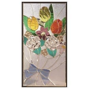 ステンドグラス (SH-A46) 一部鏡面ガラス 913×480×18mm デザイン花束 ピュアグラス Aサイズ (約13kg) ※代引不可|1128